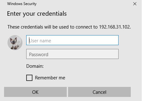 окно авторизации Basic Authentication