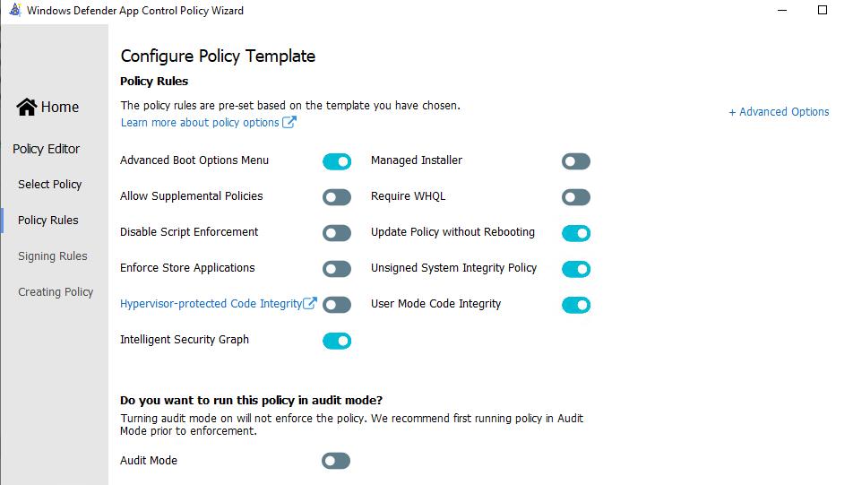 отредактировать политику Windows Defender Application Control с помощью графического интерфейса