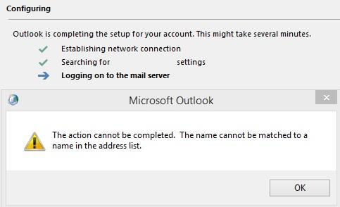 """Outlook 2019 и Outlook 365 ошибка """"Не удается завершить действие. Не удается сопоставить это имя ни одному из имен в списке адресов"""""""