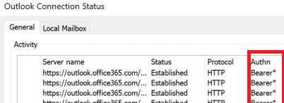 Outlook использует Modern Authentication для подключения к почтовому серверу - статус Bearer