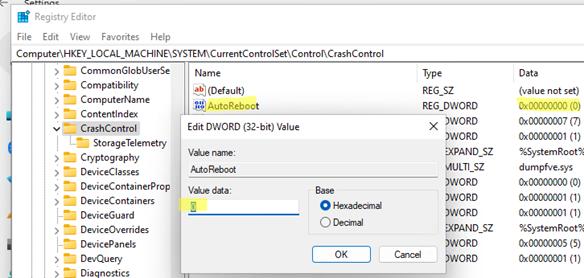 параметр реестра AutoReboot  в ветке CrashControl