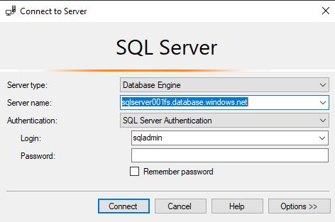 подключение SQL Server Management Studio к базе данных в Azure