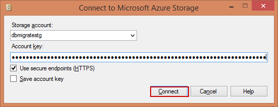 Подключиться к хранилищу Microsoft Azure