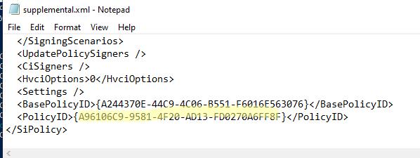 PolicyID в XML файле WDAC