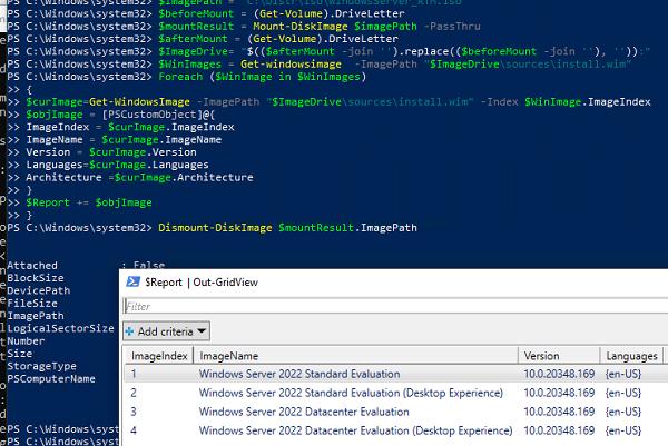 poweshell скрипт для получения списка образов и редакций Windows в ISO файле