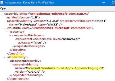 просмотр DependencyAssembly в манифесте exe файла приложния