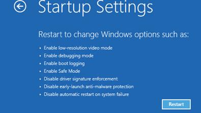 расширенный параметры загрузки Windows