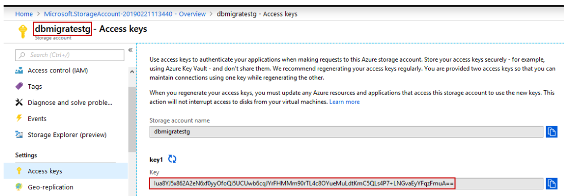 скопировать ключ доступа секрет SQL Azure