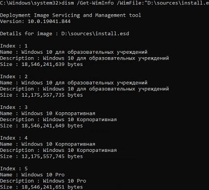 список редакций Windows в установочном ISO или install.wim файле