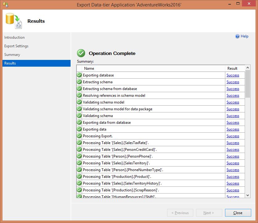 SQL Server - экспорт данных для многоуровневого приложения - просмотр результатов