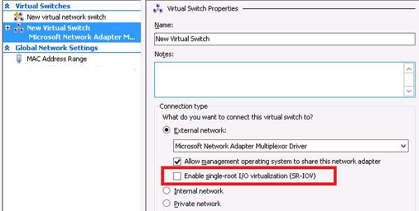 включить Enable single-root I/O virtualization (SR-IOV) для виртуального коммутатора hyper-v