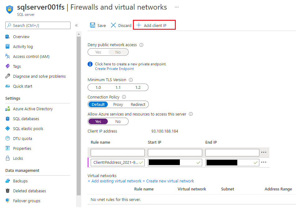задать IP адрес для SQL базы данных в Azure